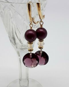 14K-GOLD-FILLED-AMETHYST-CRYSTAL-PEARL-DROP-EARRINGS
