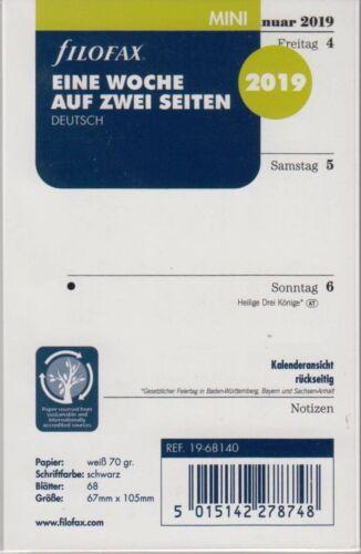 Filofax Mini 2019 Kalender Einlage 1Woche//2Seiten A8 Wochenblätter DEU 19-68140