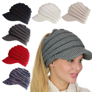 Image is loading Womens-Ladies-Ponytail-Cap-Warm-Knitted-Crochet-Oversized- a98f349a97d