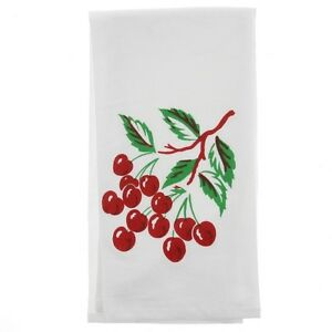 Red-Cherry-Tea-Towel-Dish-Cloth-50s-Rockabilly-PinUp-Vintage-Kitsch-Cherries