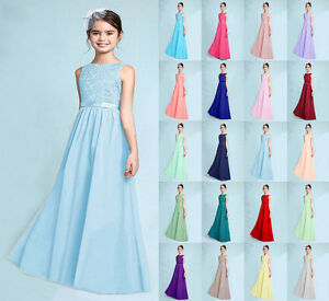 9781ffd6c07 Image is loading New-Junior-Lace-Princess-Flower-Girl-Dress-Wedding-