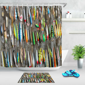 Image Is Loading 71 034 Funny Used Fishing Lures Shower Curtain