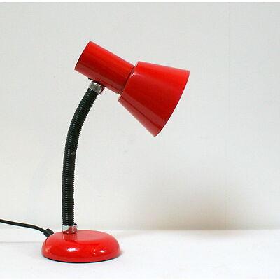Lampe de bureau rouge-orangé métal et plastique vintage 80's