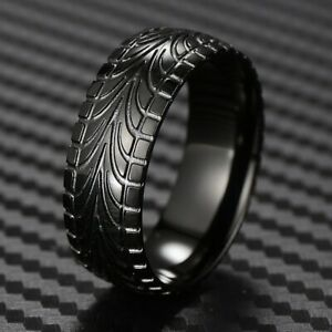 Black-Stainless-Steel-Men-039-s-Tire-Track-Wedding-Band-Ring-Size-9-15