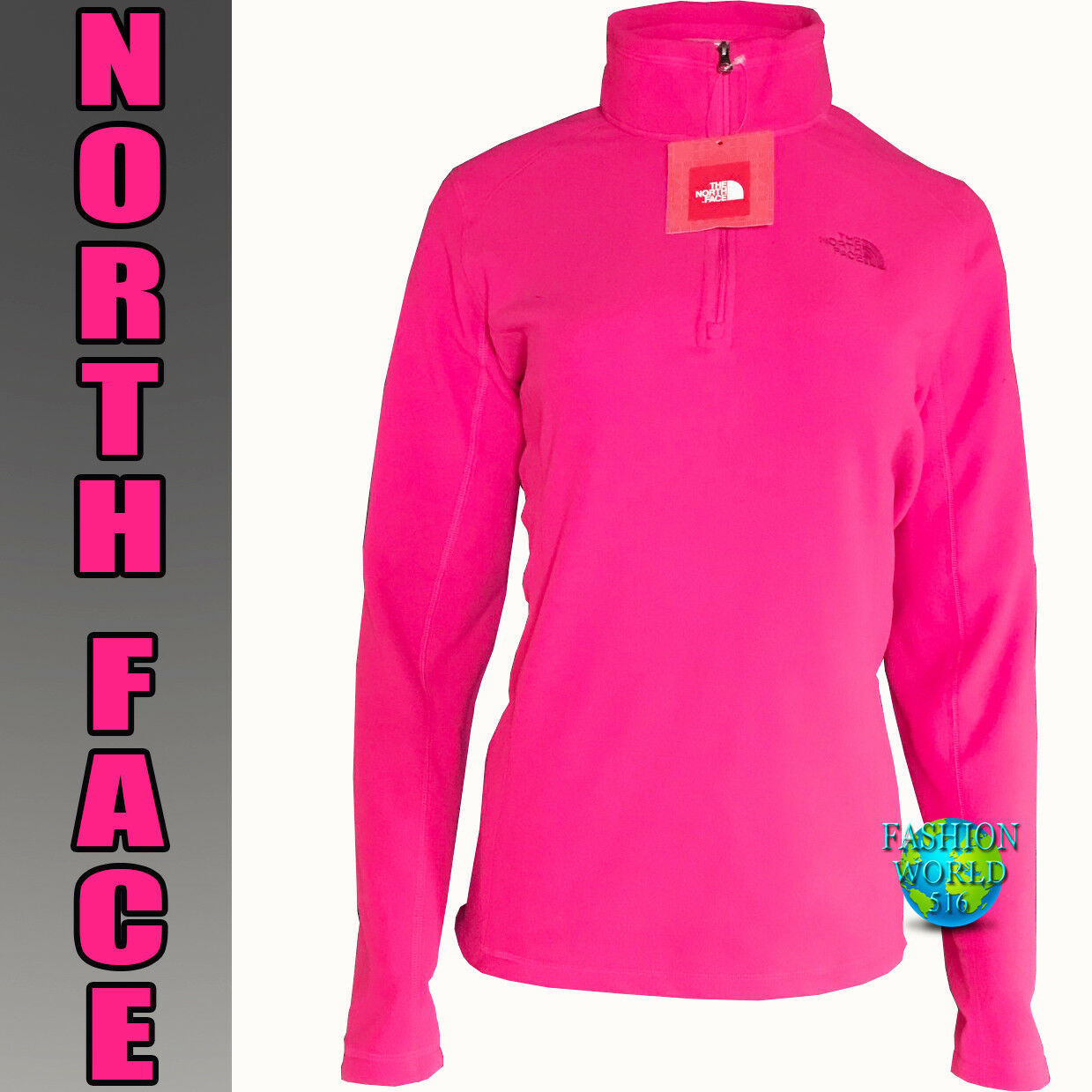 The North Face Women's Size Medium 100 GLACIER 1 4 Zip Fleece pink Red NWT