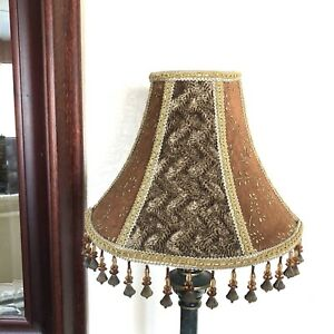 Vintage-Brown-Victorian-Style-Lamp-Shade-With-Beaded-Fringe-8-034-Tall-Excellent