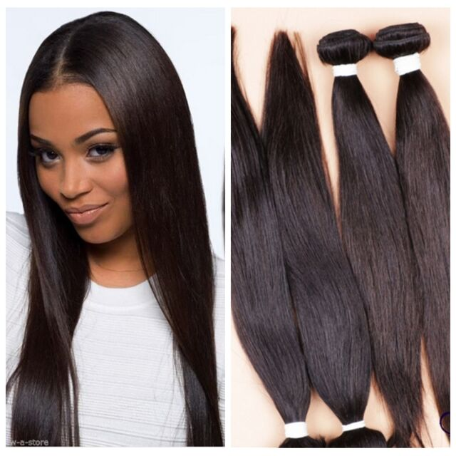 4bundles 200g Virgin Indian Straight Human Hair Extensions Weft Remy