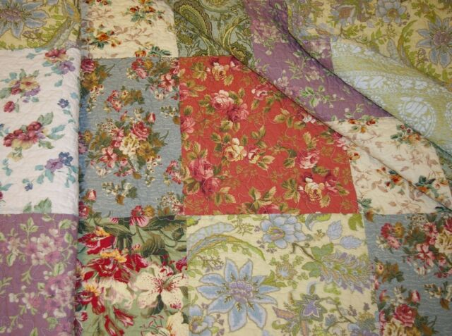 BEAUTIFUL 5 PC VINTAGE ANTIQUE FLORAL ROSE GREEN BLUE RED IVORY QUILT SET QUEEN
