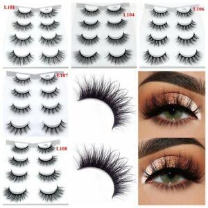 696791eef30 4 Pairs*3D Mink Hair False Eyelashes Thick Long Lashes Wispy Fluffy ...