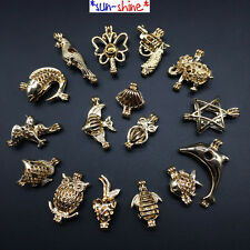 BULK! 16PCS Bright Gold Color Cage Pendant for Akoya Oyster Pearl - MIXED DESIGN