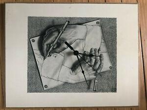 M-C-Escher-CLOCK-Drawing-Hands-Vtg-Reproduction-14x11-ART-CLOCK