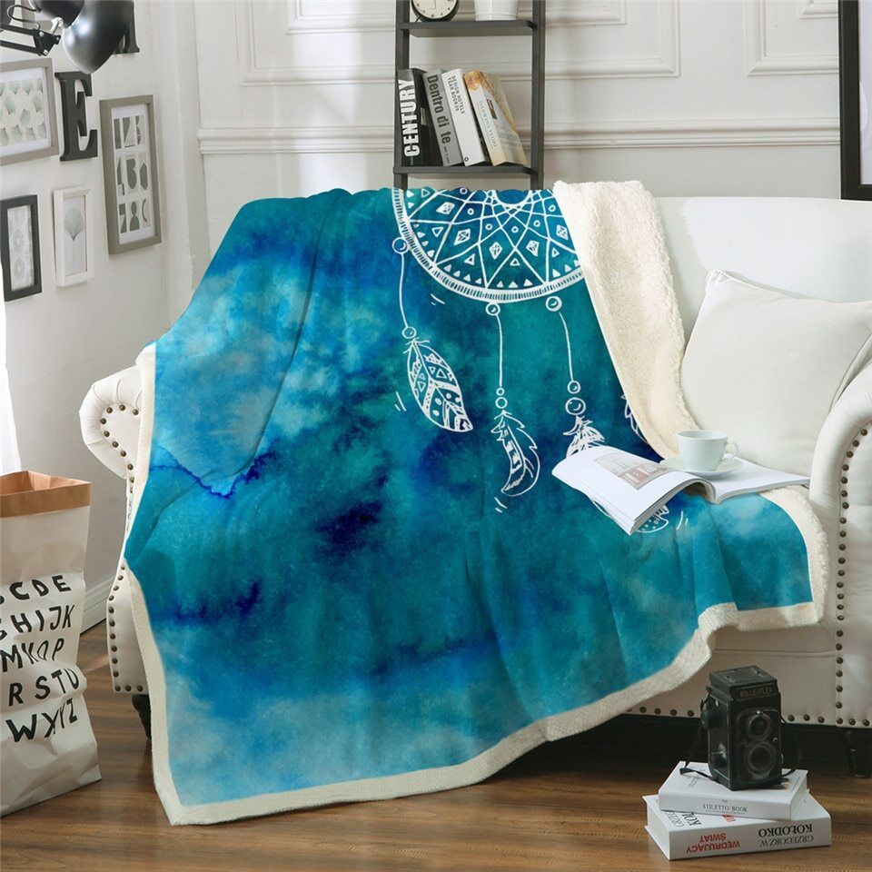 Water Colour Dreamcatcher Sherpa Plush Throw Blanket Fleece Bed Sofa Couch