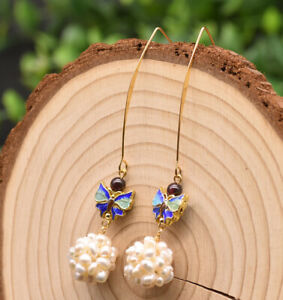 B15-Gold-Plated-Earrings-Ball-From-Freshwater-Pearls-And-Cloisonne-Butterfly