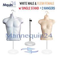 2 Mannequin Torsos - White Male + Flesh Female Dress Form W/ 2 Hangers & 1 Stand