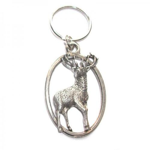 Stag PEWTER KEY RING FOB CHAIN BAG CHARM Present Wildlife Deer Club GIFT BOX
