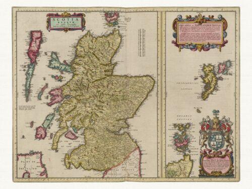 Old Vintage Antique Kingdom of Scotland decorative map Blaeu ca 1655