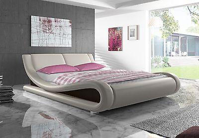 Designer bett  Kunstlederbett Polsterbett Bettgestell Bett Rahmen Lattenrost ...