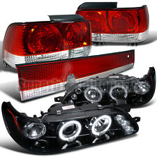 1993-1997 Toyota Corolla LED Projector Headlights Glossy Black+Tail Light Chrome