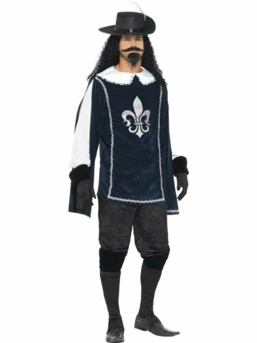 CA412 Mens Musketeer French Cavalier Soldier Knight Medieval Book Week Costume