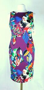 NWT-Calvin-Klein-Purple-Floral-Print-Scuba-Sheath-Dress-Size-2-4-6-8-10-134