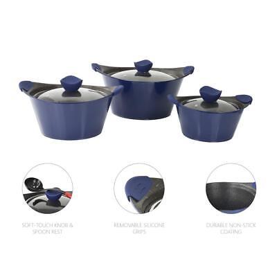 3pc Caia Antiaderente Marmitta Lì Casseruola Pentola Padella Coperchio Die Cast Cookware Set Blu- Prezzo Ragionevole