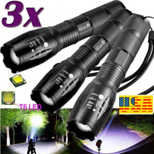3x Tactical  Flashlight 5-Modes  LED Super Bright Aluminum Zoom Focus Mini Torch