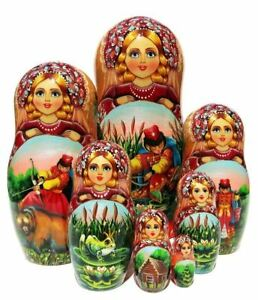 Wizard Of Oz Story 5 PC Wooden Hand Painted Russian Stacking Toy Nesting Doll