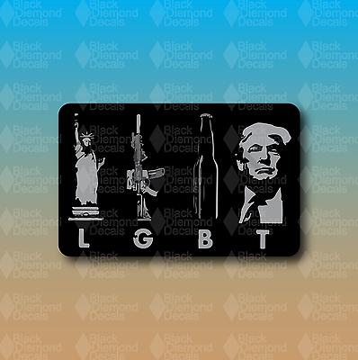 "LGBT Liberty Guns Beer Trump AR Rifle NRA Funny 8/"" Custom Vinyl Bumper Sticker"