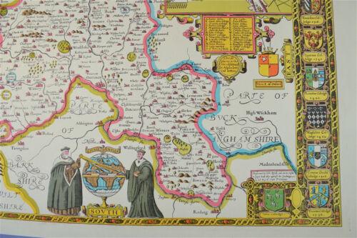 Vintage decorative sheet map of Oxfordshire Oxford John Speede 1610