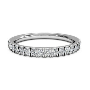 0.30 Ct Round Cut Moissanite Eternity Band 14K White Gold Engagement Ring Size 8