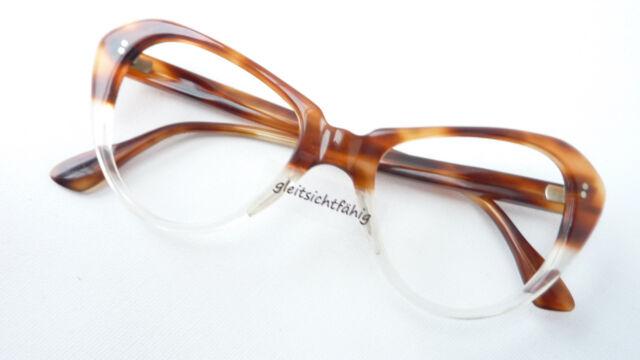 Real Vintage Brille Katzenauge groß braun verlaufend Sammler Damen Gestell sizeM