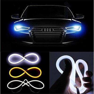 2x 45cm Flexible Soft Tube Car LED Strips White DRL & Yellow Turn Signal Light