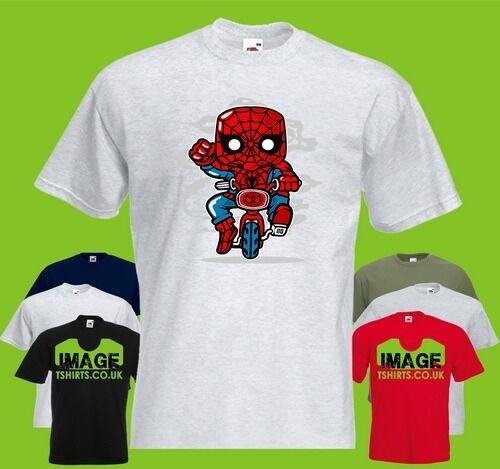 Spidey Minibike Mens PRINTED T-SHIRT Cartoon Spiderman Mini Bike Ride Rider Hero