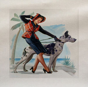 Pinup Girl Music Dog Printed On Fabric Panel Make A Cushion