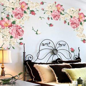 Romantique-Rose-Fleur-Stickers-Muraux-Salon-Decor-Mur-Autocollant-Decor-Maison
