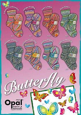 4fädig 100 g Opal Sockenwolle Butterfly 75/% Schurwolle 25/% Polyamid