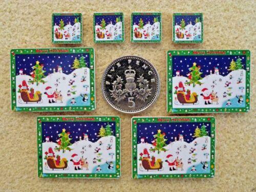 Conjunto de 4 Casa De Muñecas En Miniatura De Navidad Manteles Individuales /& Posavasos 5 diseños Hecho a Mano
