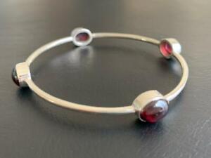 925-Sterling-Silver-Bangle-Bracelet-Garnet-Gemstone-Solid-Classic-Round-Golf