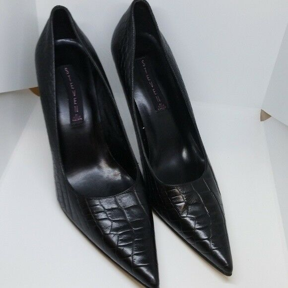 Steven By Steve Madden women Black Leather High Heel pointy Pumps shoes 9.5 M