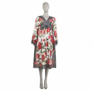 96a3ad1a 54342 auth DOLCE & GABBANA black white red ROSES Long Sleeve EMPIRE ...