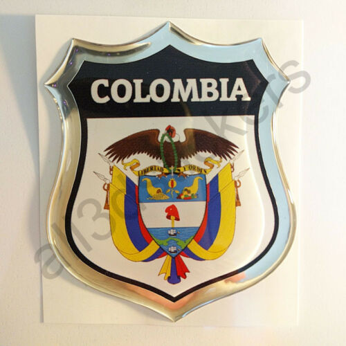Sticker Colombia Emblem Coat of Arms Shield 3D Resin Domed Gel Vinyl Decal Car