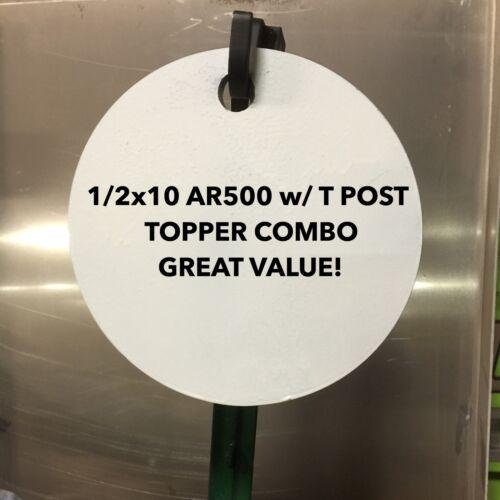 "1//2/"" AR500 Steel Target 10/"" Gong w// T Post Target Hanger Combo Great Value!!"