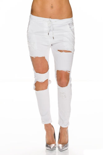 Damen Chino Hose Chinohose Destroyed Jogg Pants Jogginghose locker S 34 36 38