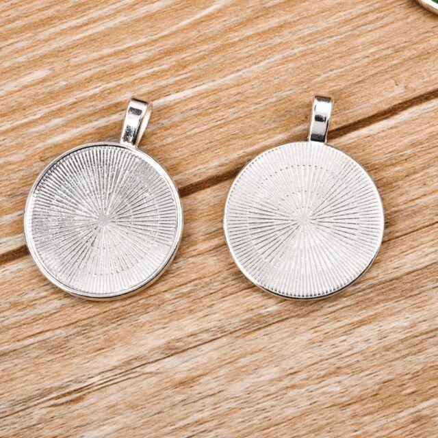 10~50X 25mm Silver Base Blank Bezel Cabochon Setting Jewelry Round Pendant