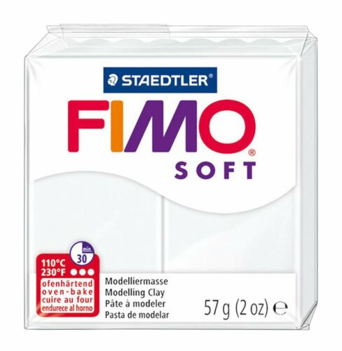 57g FIMO Soft Polymer Oven Modelling Clay Black /& Grey White Set of 3