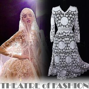 Robe-dentelle-mariage-crochet-victoriennes-Vintage-Boho-10-12-14-16-BLANC-MAGNIFIQUE