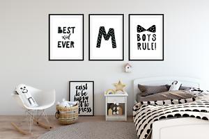 Dettagli su Set di 3 stampe camera da letto per ragazzi/Lettera  Personalizzata/Nero & Bianco Bambini Wall Art- mostra il titolo originale