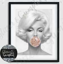 Rose Gold Bubblegum Marilyn Monroe Beauty Room Bedroom Wall Fashion Art Print