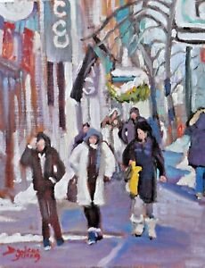 Montreal-Winter-Scene-Ste-Catherine-8x10-oil-Darlene-Young-Canadian-Artist