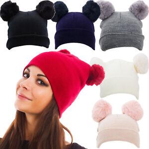 Cappello cappellino donna kawaii berretto tricot pompon ponpon pelliccia M1526
